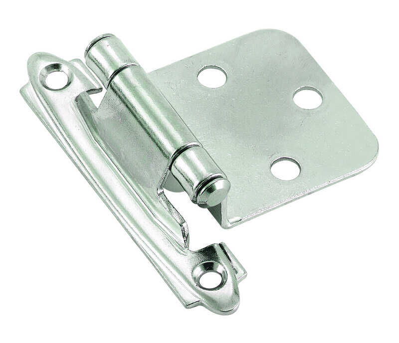 Amerock  1-13/16 in. W x 2-3/4 in. L Polished Chrome  Steel  Cabinet Hinge  2 pk
