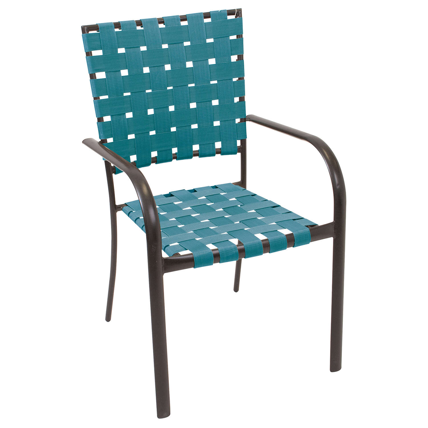 Rio Brands  Hadley  Black  Steel Frame Stackable  Bistro Chair  Teal