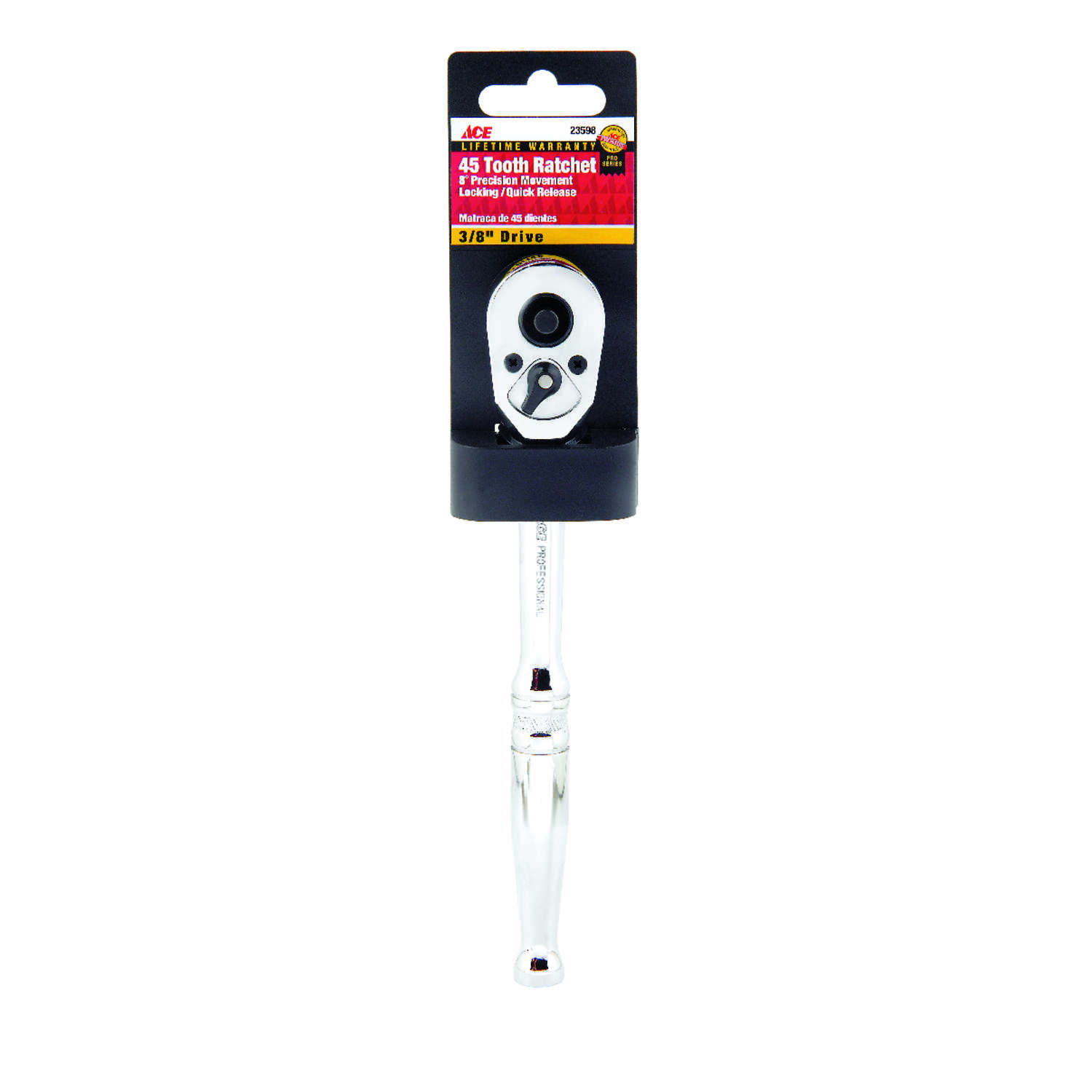 Ace  Locking  3/8 in. drive Chrome  Quick-Release Ratchet  1 pc.