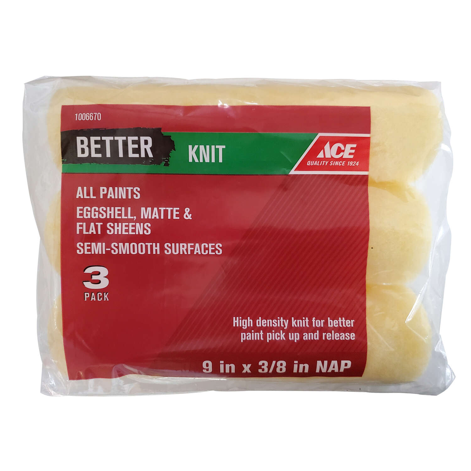 Ace  Better  Knit  9 in. W x 3/8 in.  Paint Roller Cover  3 pk