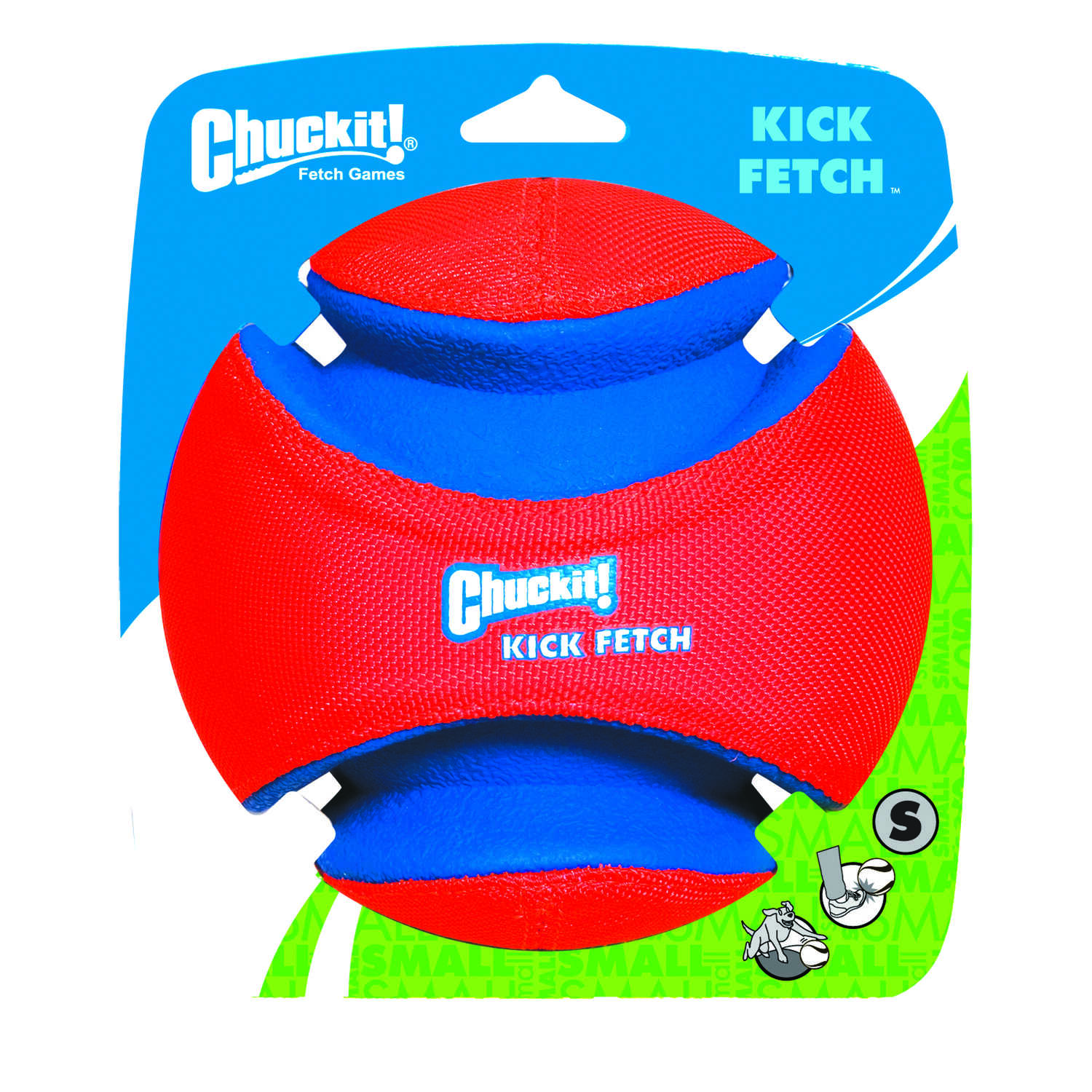 Chuckit!  Multicolored  Rubber  Kick Fetch  Small  Ball Dog Toy
