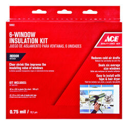 Ace  Clear  Plastic  Insulation Kit  For Windows 62 in. L x 0.75 ml