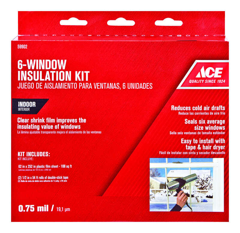 Ace Clear Plastic Insulation Kit For Windows 62 in  L x 0 75