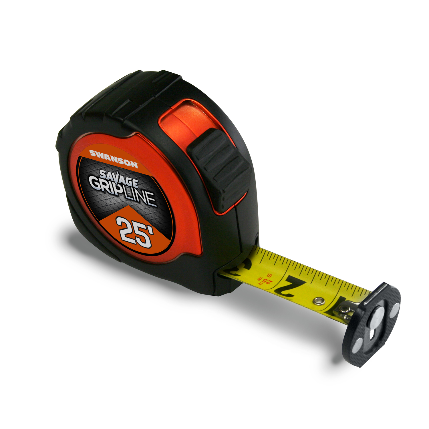 Swanson  Savage Grip Line  25 in. L x 1-1/16 in. W Tape Measure  1 pk Black  Aluminum with Anodized