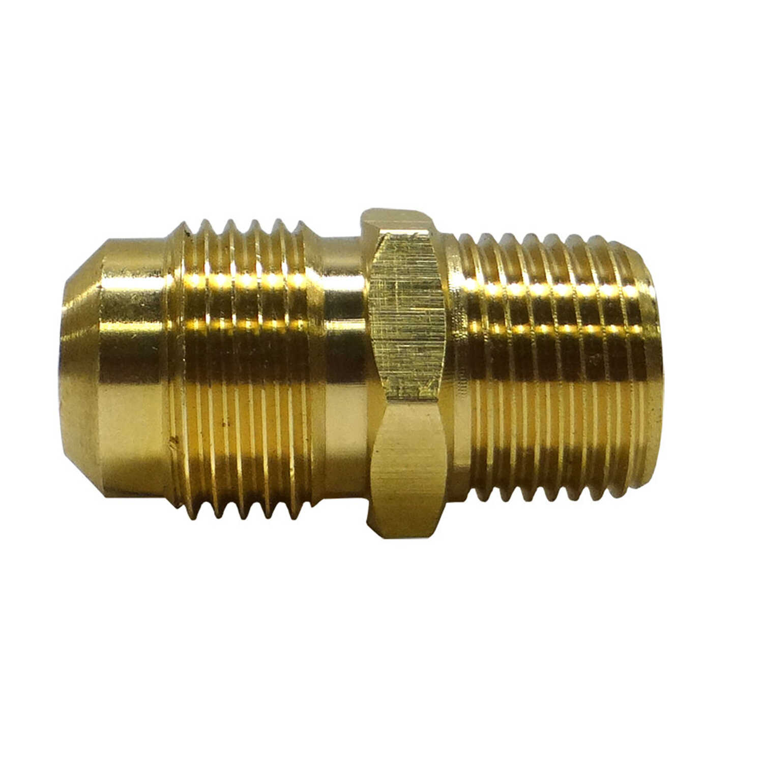 JMF  1/2 in. Flare   x 3/8 in. Dia. Male  Brass  Flare Adapter