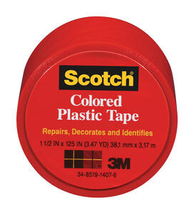 Scotch  Red  125 in. L x 1-1/2 in. W Plastic Tape