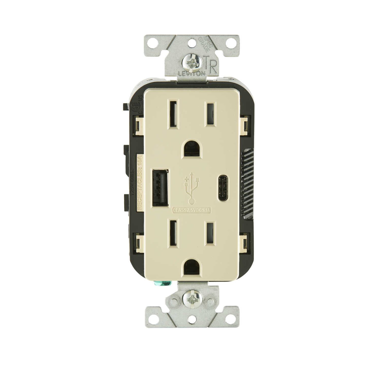 Leviton  Decora  15 amps 125 volt Ivory  Outlet and USB Charger  5-15R  1 pk