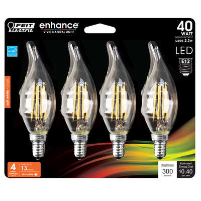 Feit Electric  Enhance  Flame Tip  E12 (Candelabra)  Filament LED Bulb  Soft White  40 Watt Equivale