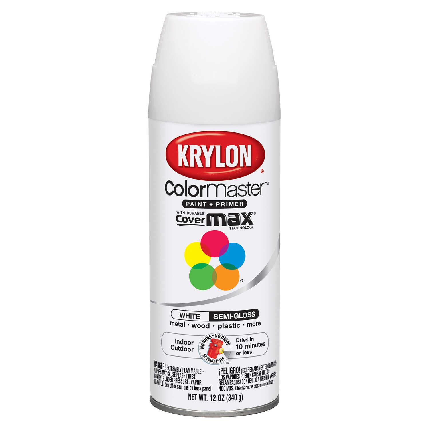 Krylon  ColorMaster  Semi-Gloss  White  Spray Paint  12 oz.