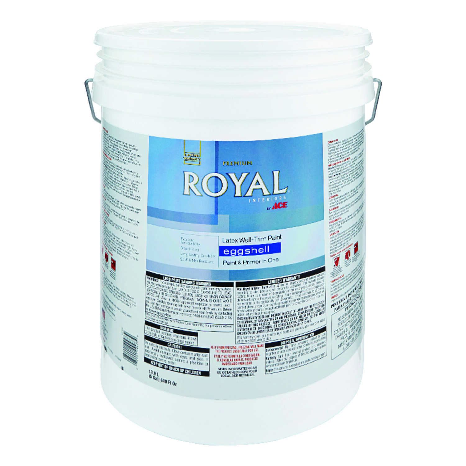 Ace  Royal  Eggshell  Ultra White  Vinyl Acetate/Ethylene  Interior Latex Wall+Trim Paint  5 gal.