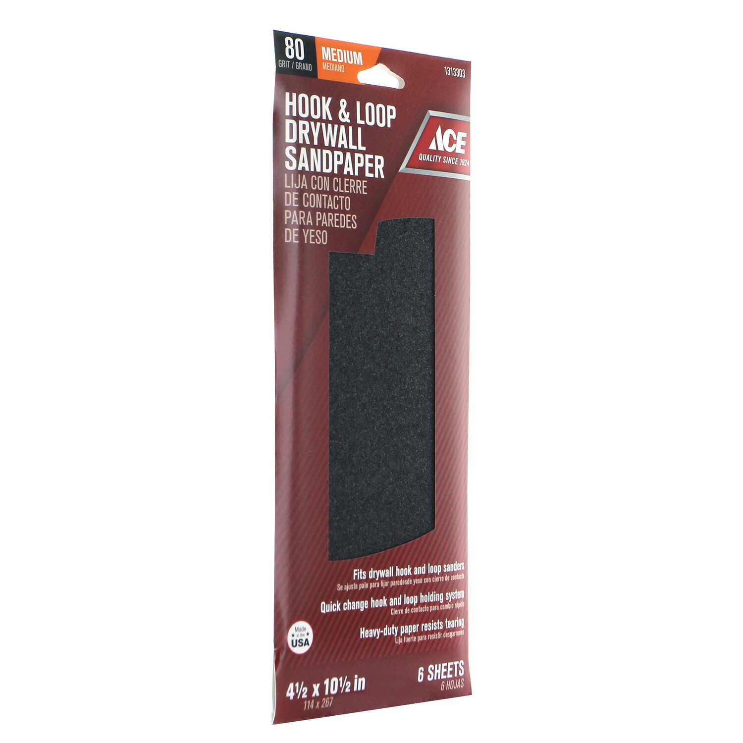 Ace  4-1/2 in. W x 10-1/2 in. L 80 Grit Silicon Carbide  Drywall Sanding Sheet  6 pk Medium