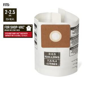Craftsman  2 in. L x 8 in. W Wet/Dry Vac Filter Bag  2 to 2-1/2 gal. 1 pc.