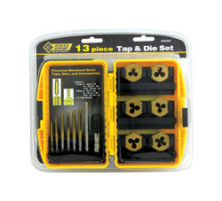Steel Grip  Steel  SAE  Tap and Die Set  6-32, 8-32, 10-24, 10-32, 1/4-20, 5/16-8  13 pc.