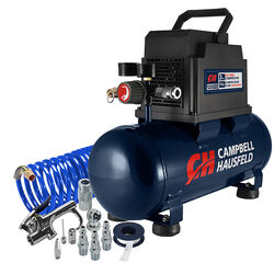 Campbell Hausfeld  3 gal. Horizontal  Portable Air Compressor and Inflation Kit  125 psi 0.33 hp