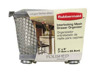 Rubbermaid  2.25 in. H x 3 in. W x 9 in. L Chrome  Drawer Organizer  Black/Gray