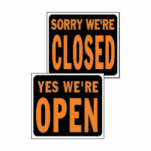 Hy-Ko  English  Yes We're Open/Sorry We're Closed  Reversible Sign  19 in. W x 15 in. H Plastic