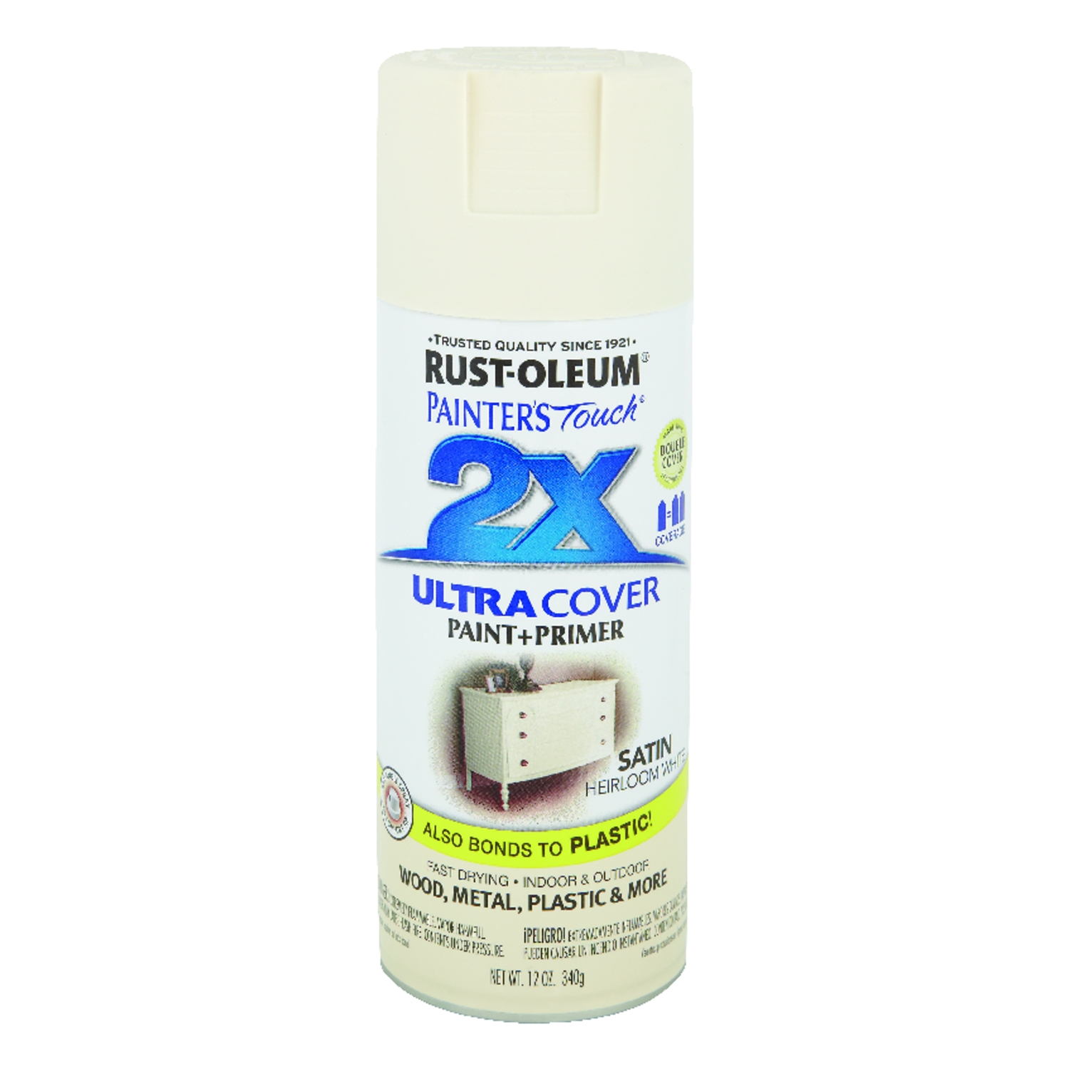 Rust-Oleum  Painter's Touch Ultra Cover  Satin  Spray Paint  Heirloom White  12 oz.