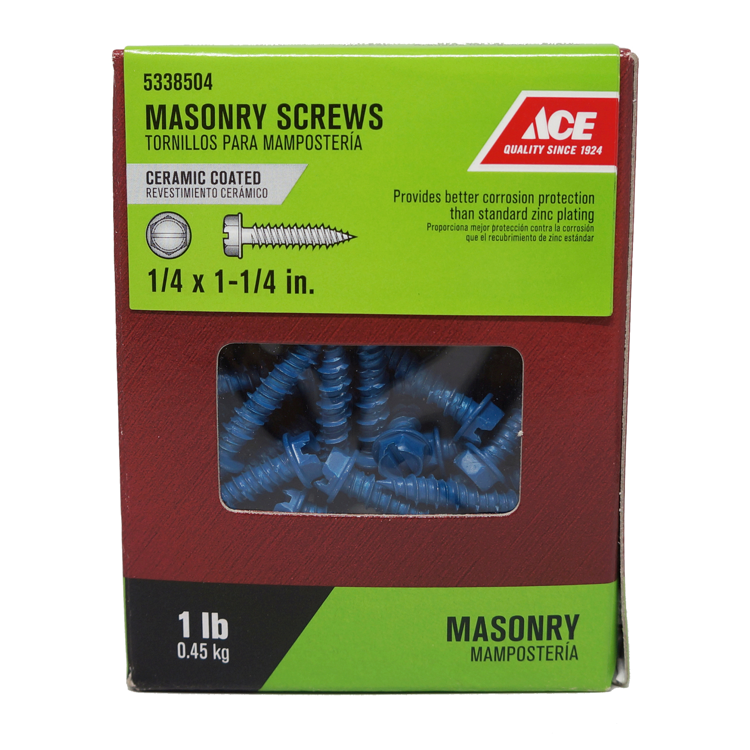 Ace  1/4 in.   x 1-1/4 in. L Slotted  Hex Washer Head Ceramic  Steel  Masonry Screws  1 lb. 85 each