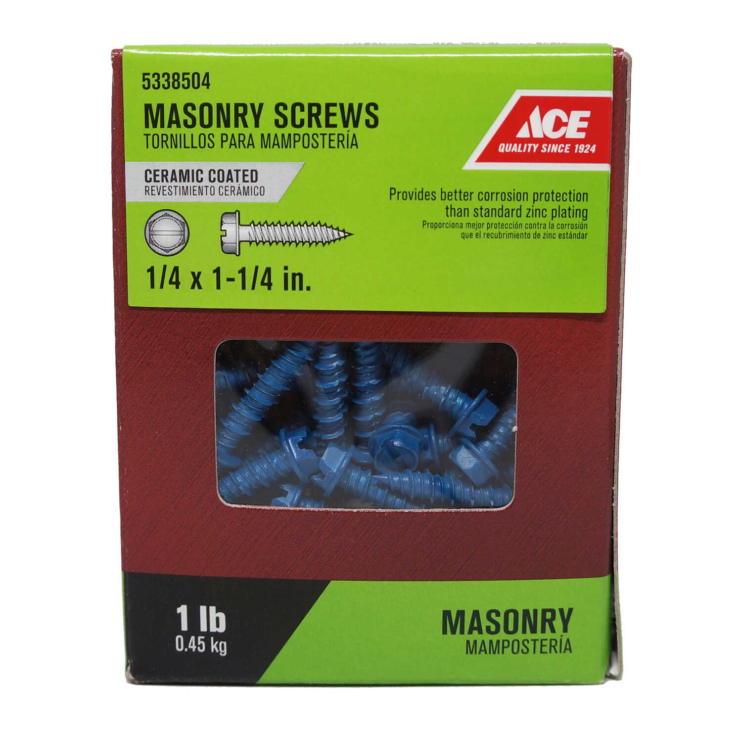 Ace  1/4 in.   x 1-1/4 in. L Slotted  Hex Washer Head Ceramic  Steel  Masonry Screws  1 lb. 85 pk