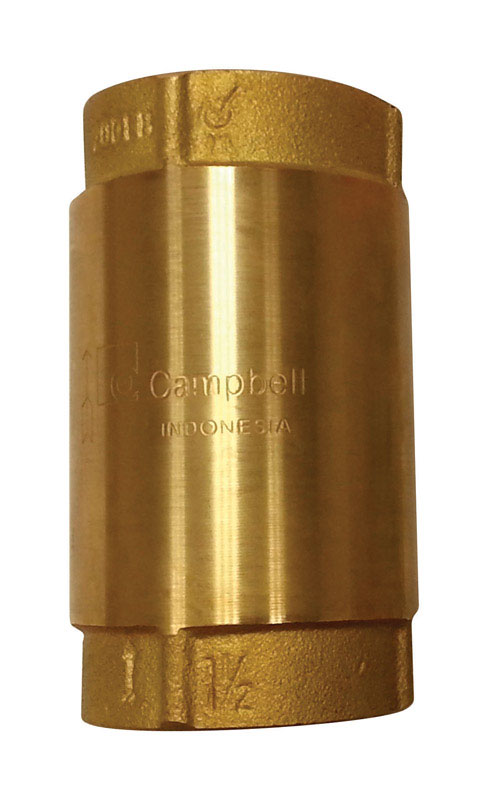 Campbell  1 1/4 in. 1-1/4 in.  Yellow Brass  Spring  Check Valve