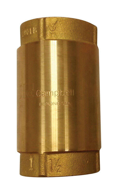Campbell  1-1/4 in. Dia. x 1-1/4 in. Dia. Yellow Brass  Spring Loaded  Check Valve