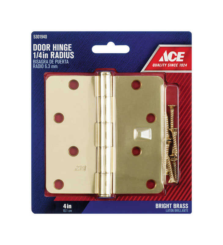 Ace  4 in. L Bright Brass  Residential Door Hinge  1 pk