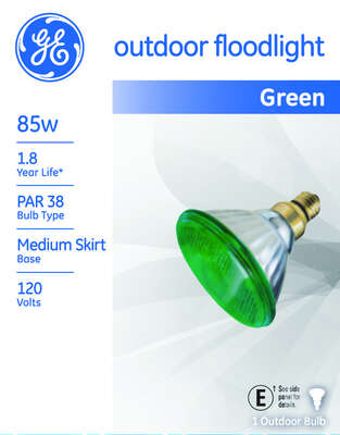 GE  Watt-Miser  85 watts PAR38  Floodlight  Incandescent Bulb  E26 (Medium)  Green  1 pk