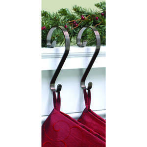 Haute Decor  Scroll  Stocking Holder  2 pk Metal  Oil Rubbed Bronze