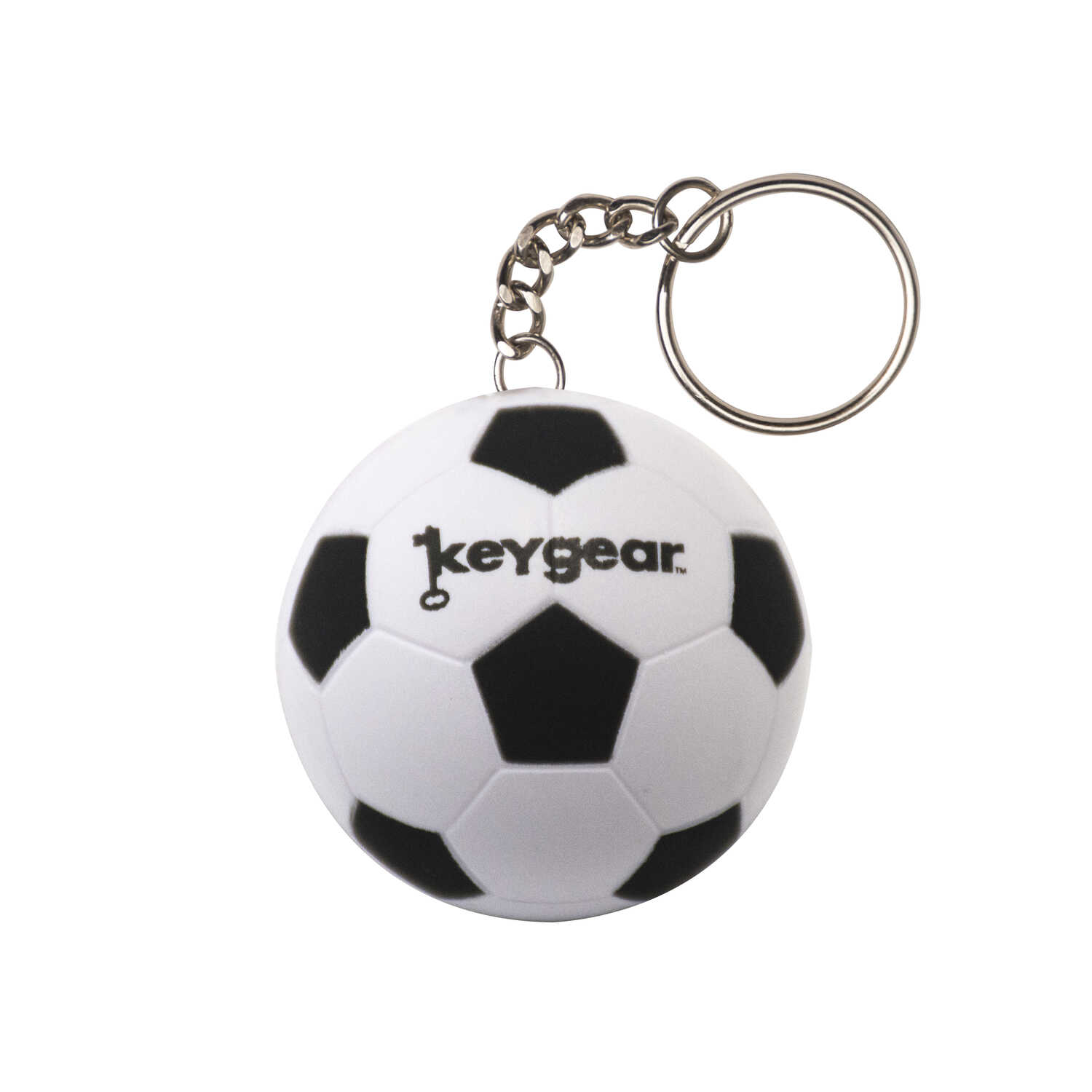 KeyGear  Rubber  White  Stress Ball, Soccer  Key Chain