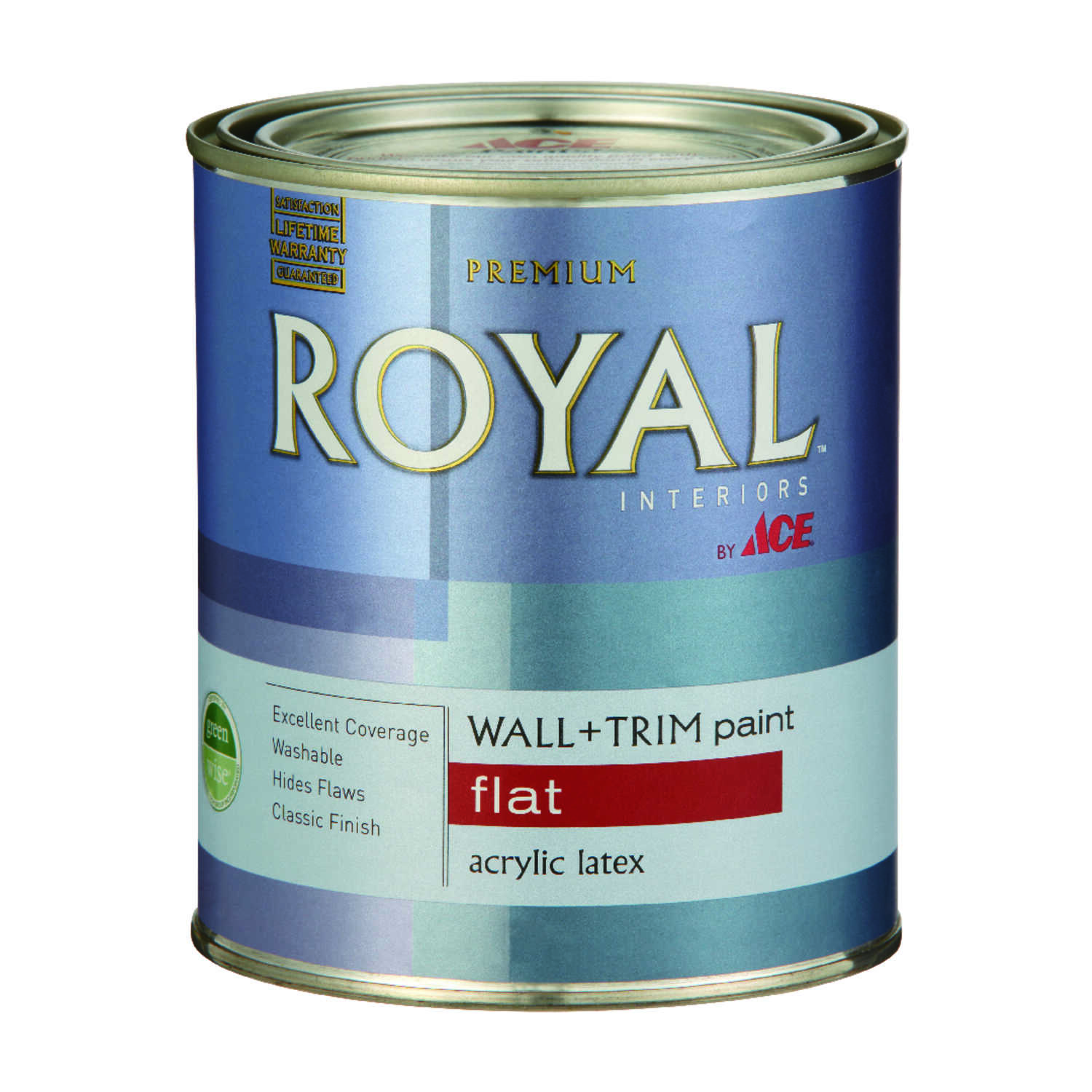 Ace  Royal  Flat  High Hiding White  Vinyl Acetate/Ethylene  Paint  1 qt.