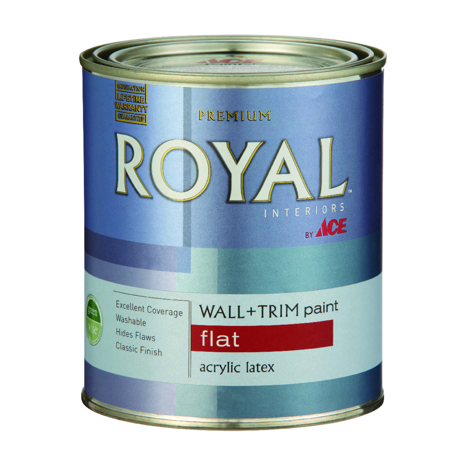 Ace  Royal  Flat  High Hiding White  Vinyl Acetate/Ethylene  Paint  Indoor  1 qt.