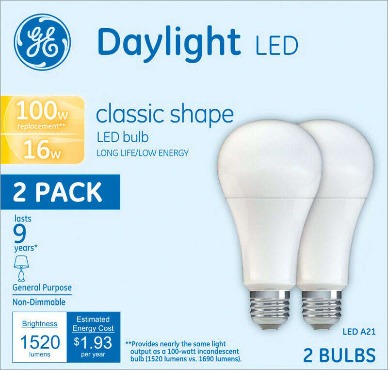 GE  A21  E26 (Medium)  LED Bulb  Daylight  100 Watt Equivalence 2 pk