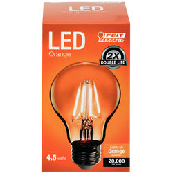 Feit Electric  Filament  A19  E26 (Medium)  LED Bulb  Orange  30 Watt Equivalence 1 pk