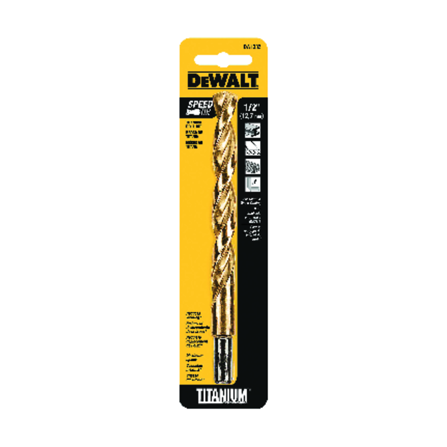DeWalt  1/2 in. Dia. x 6 in. L Titanium  3/8 in. Straight Shank  1 pc. Split Point Drill Bit