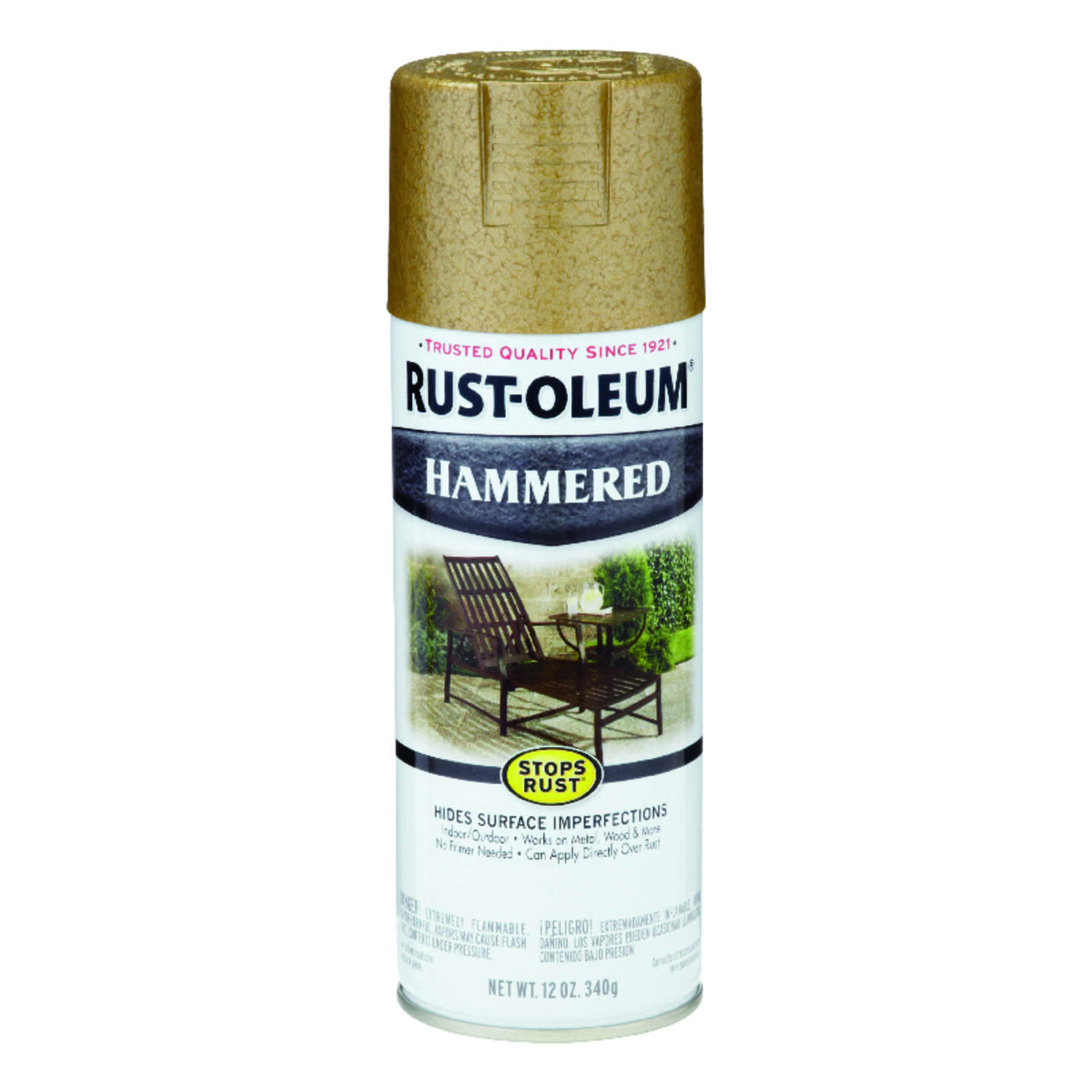 Rust-Oleum  Stops Rust  Hammered  Gold  Spray Paint  12 oz.