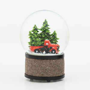 Roman  Pick-up with Dogs Waterglobe  Christmas Decoration  Resin  1 pk