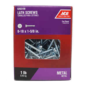 Ace  No. 8   x 1-5/8 in. L Phillips  Truss Washer Head Zinc-Plated  Steel  Lath Screws  1 lb. 125 pk