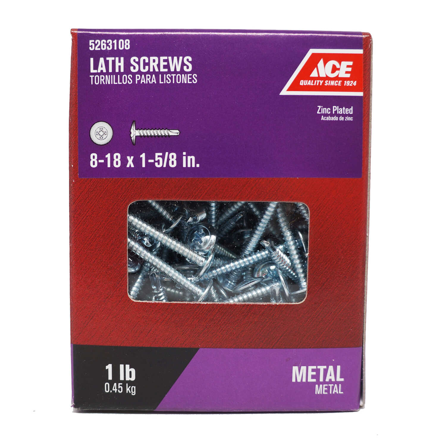 Ace  No. 8   x 1-5/8 in. L Phillips  Truss Washer Head Zinc-Plated  Steel  Lath Screws  126 pk 1 lb.