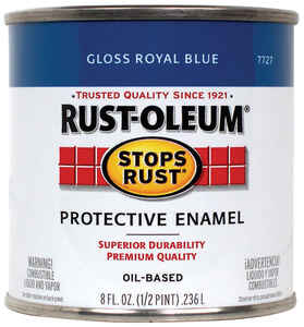 Rust-Oleum  Stops Rust  Gloss  Royal Blue  Protective Enamel  Indoor and Outdoor  250 g/L 0.5 pt.