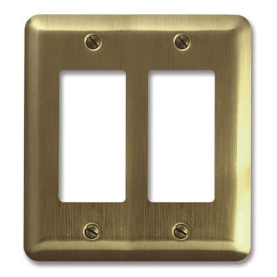 Amerelle  Devon  Brushed Brass  2 gang Stamped Steel  Rocker  Wall Plate  1 pk