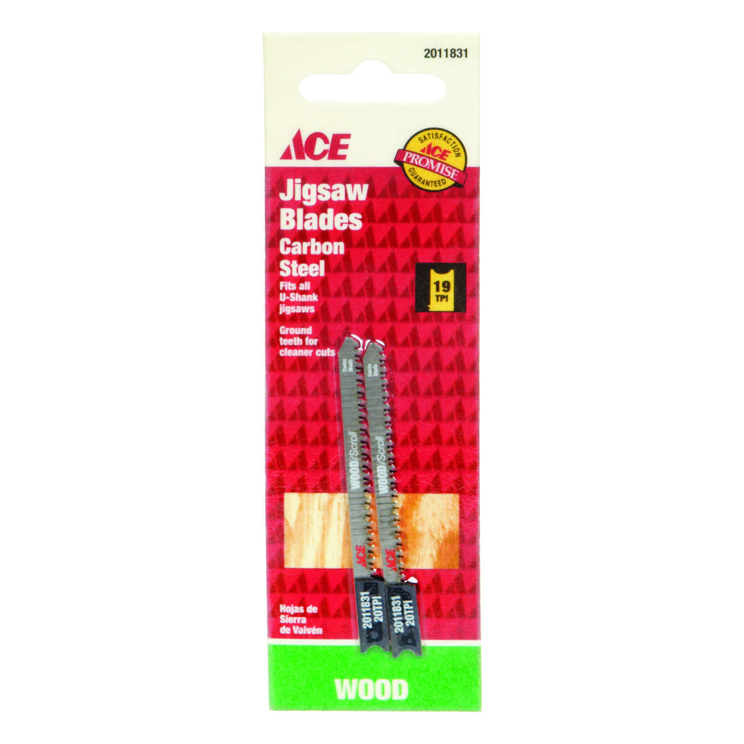 Ace  2-3/4 in. Carbon Steel  Jig Saw Blade  19 TPI 2 pk U-Shank