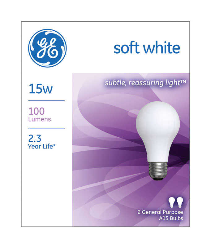 GE Lighting  15 watts A15  Incandescent Bulb  100 lumens Soft White  A-Line  2 pk