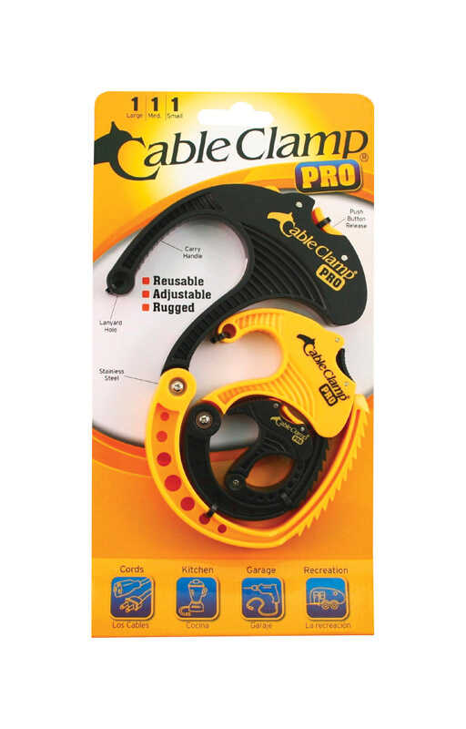 Cable Clamp  Pro  0.7 in. L Black/Yellow  Plastic  Cable Organizer