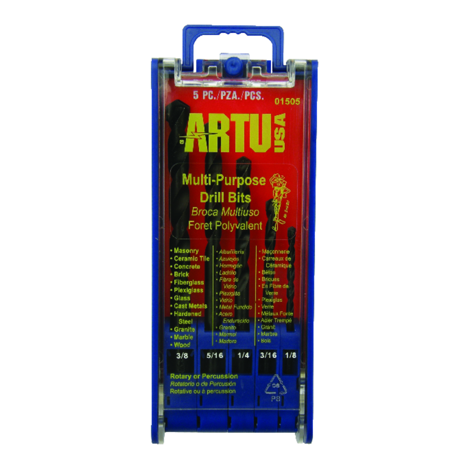 ARTU  Multi Size in. Dia. x Multi SIze in. L Drill Bit Set  3/8 in. Round Shank  Tungsten Carbide Ti