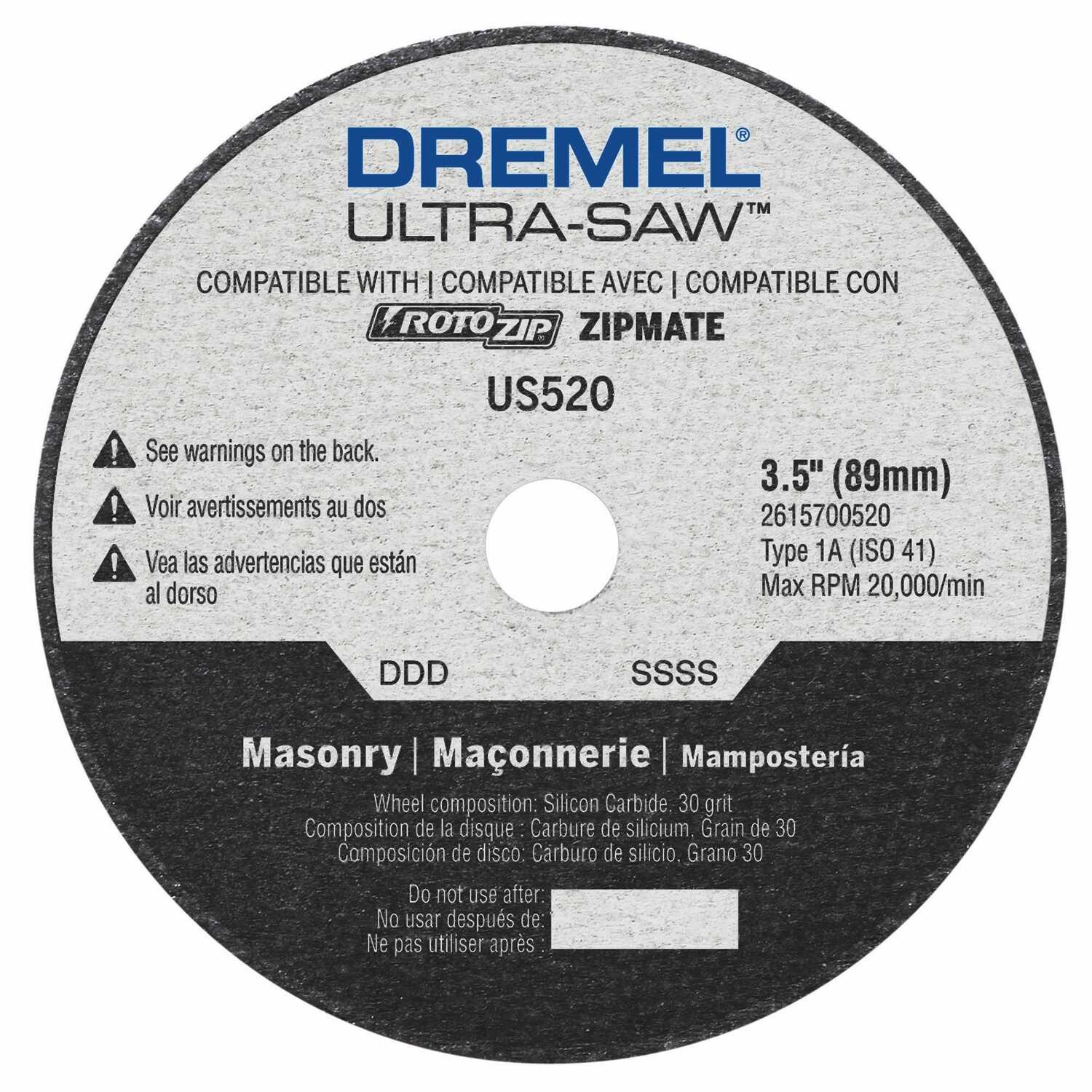 Dremel  Ultra-Saw  3-1/4 in. Silicon Carbide  Masonry Cutting Wheel  .094 in.  x 1/2 in. in.  1 pc.