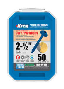 Kreg Tool  No. 8   x 2-1/2 in. L Square  Washer  Blue-Kote  Steel  Pocket-Hole Screw  50 pk