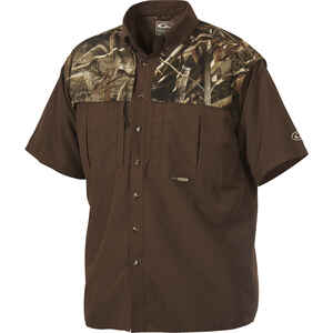 Drake  EST Wingshooter  S  Short Sleeve  Men's  Collared  Brown/Camo  Work Shirt