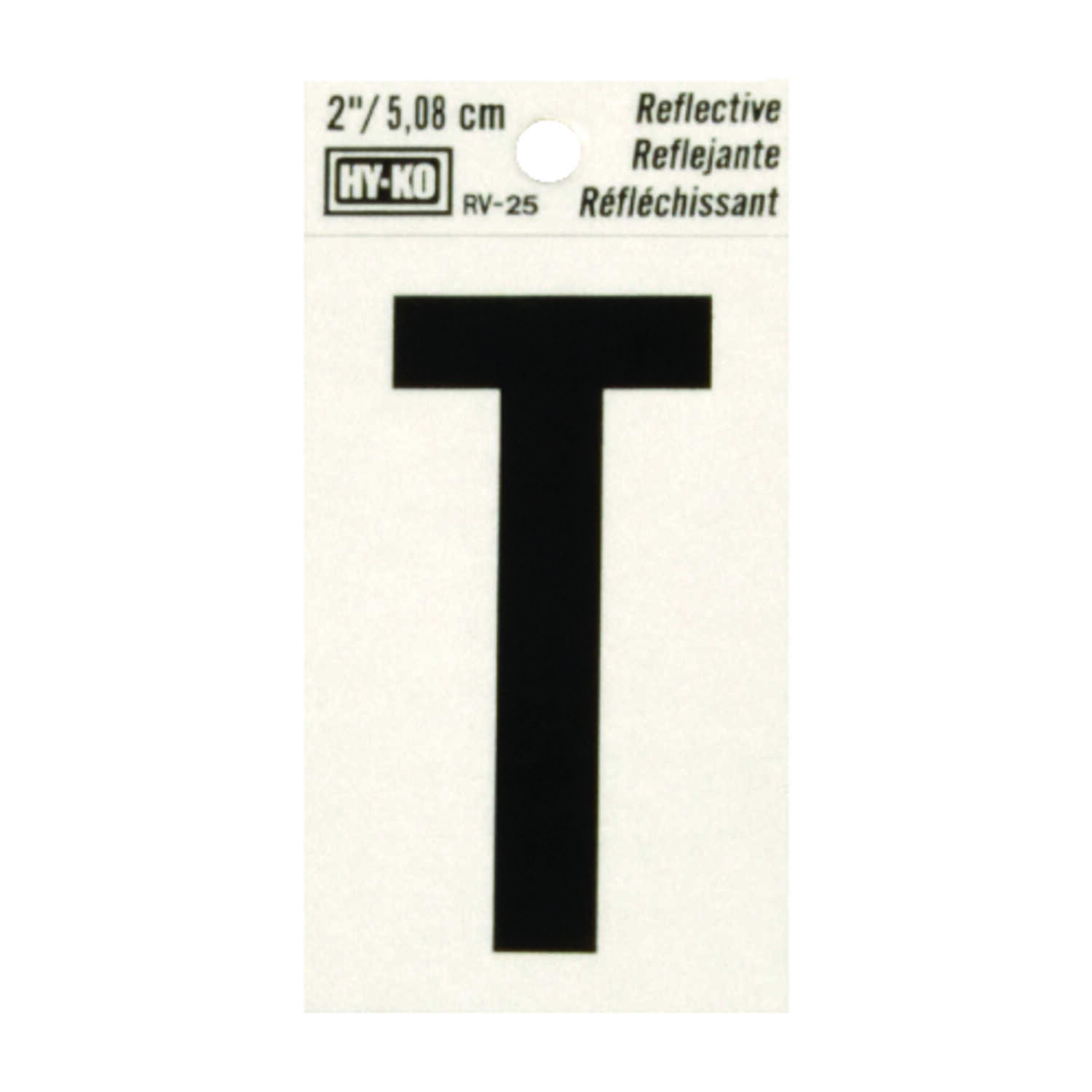 Hy-Ko  2 in. Reflective Black  Vinyl  Letter  T  Self-Adhesive  1 pc.
