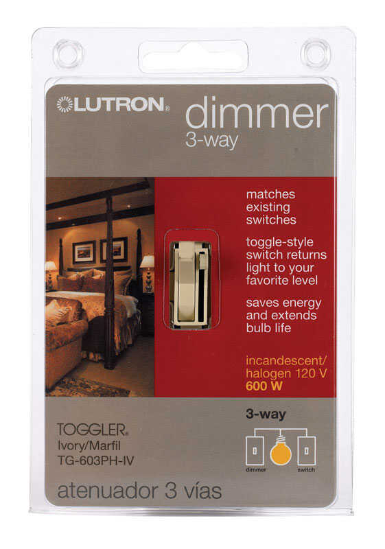 Lutron  Toggler  Ivory  600 watts 3-Way  Dimmer Switch