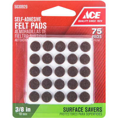 Ace  Felt  Self Adhesive Pad  Brown  Round  3/8 in. W 75 pk